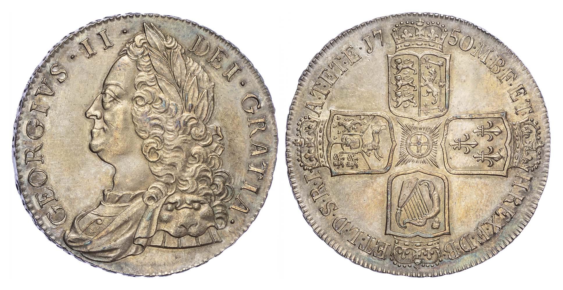 George II (1727-60), Crown, 1750, Older bust, VICESIMO QVARTO Edge