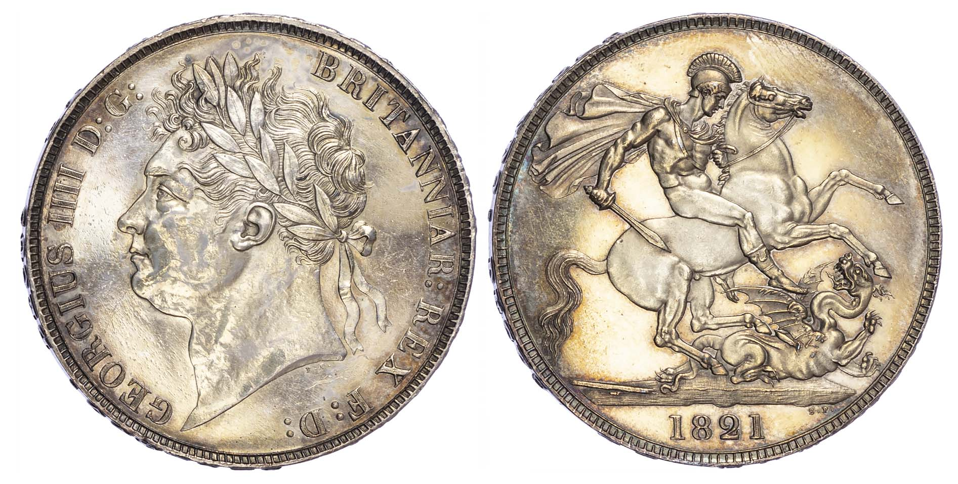George IV (1820-30), Proof Crown issued in 1821, raised Secundo edge