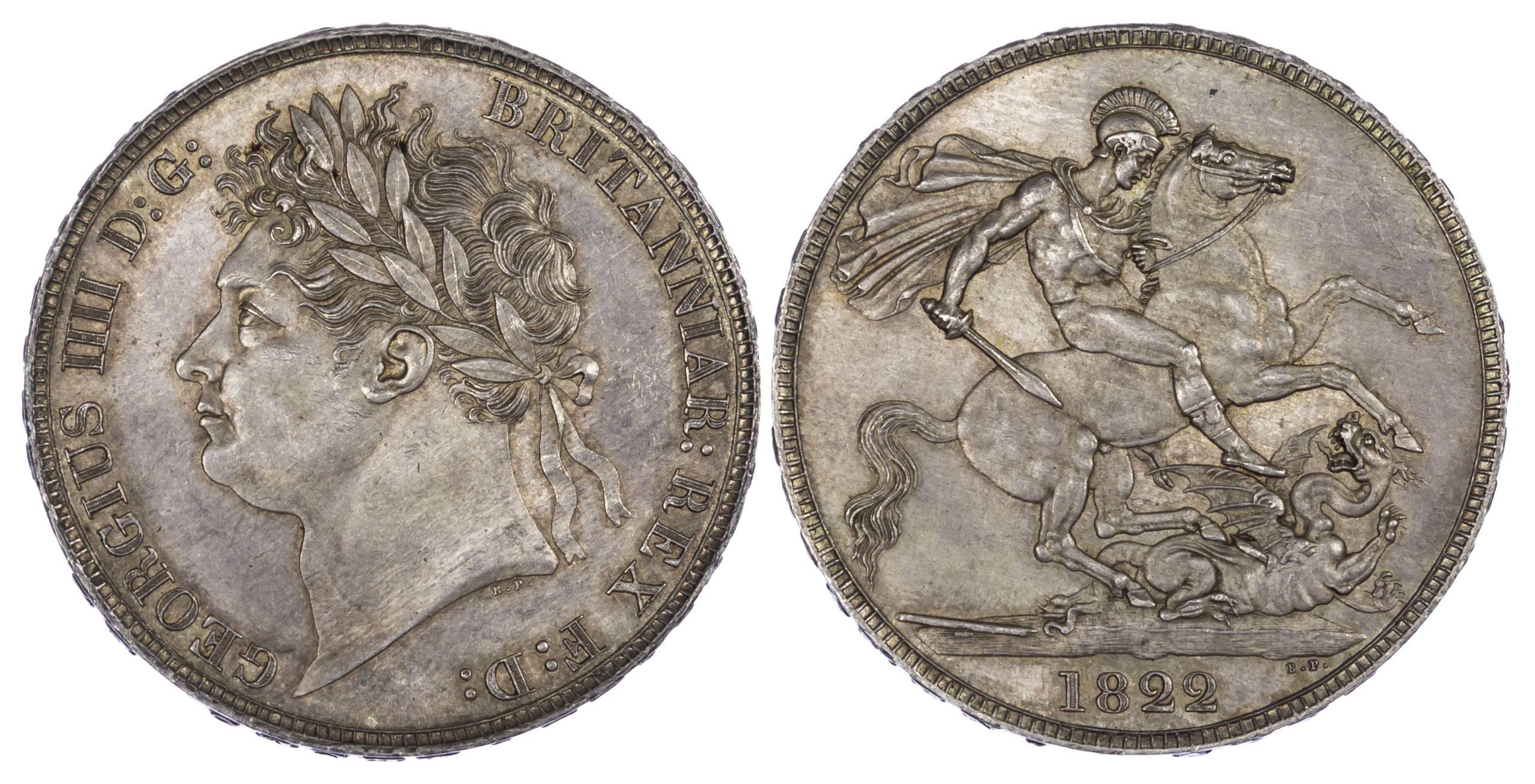 George IV (1820-30), Crown, 1822, Laureate head, Secundo edge