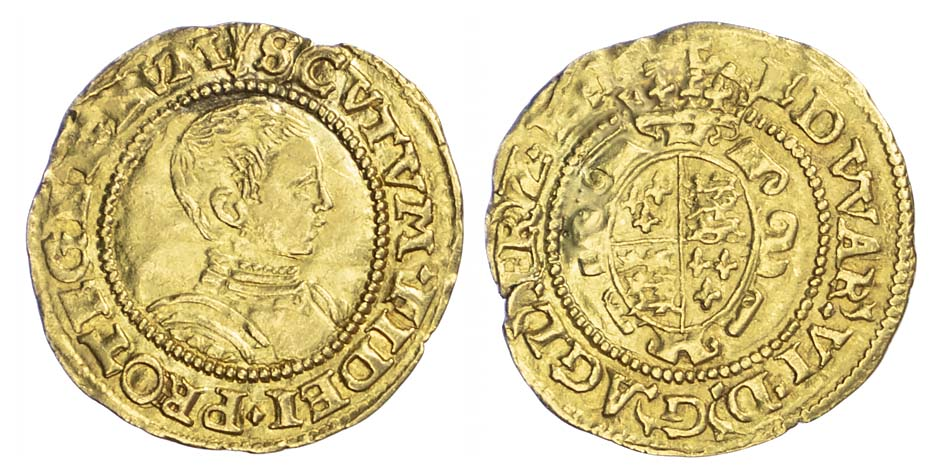 Edward VI 1547-53), Second Period, Gold Halfcrown, mintmark arrow