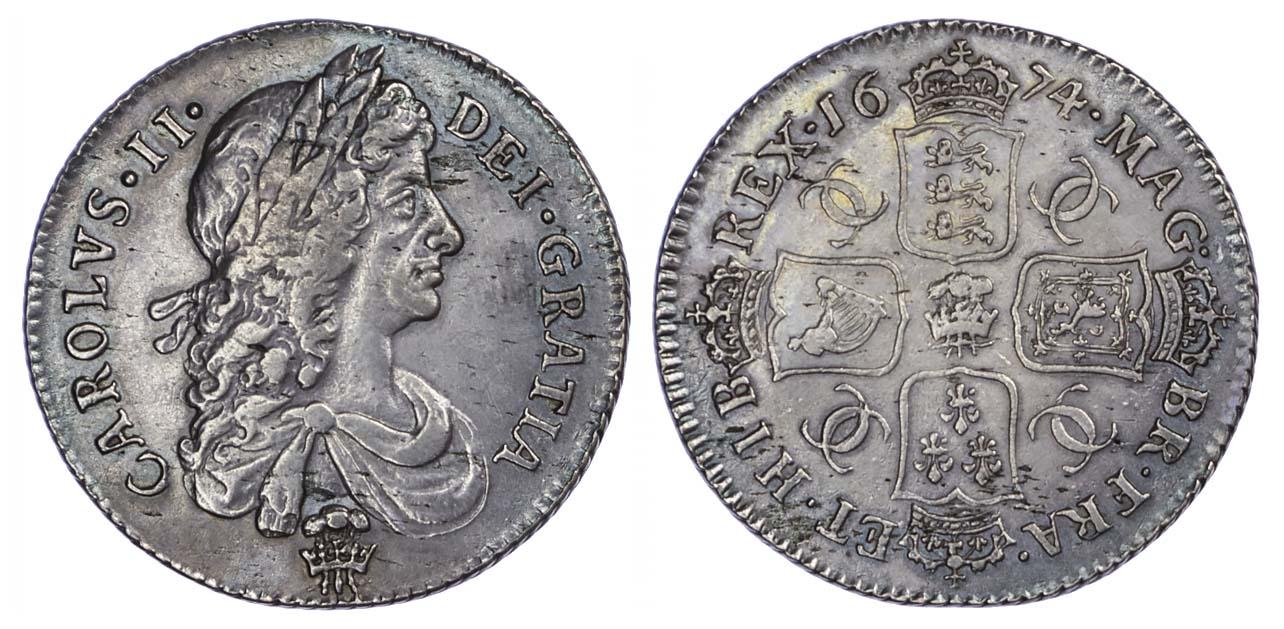 Charles II (1660-85), Shilling, 1674, plume below bust