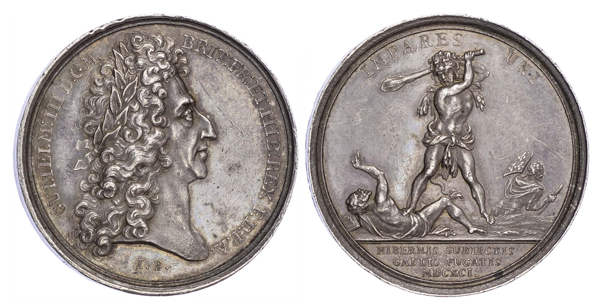 William and Mary (1688-1694), Battle of Aughrim 1691, Silver medal