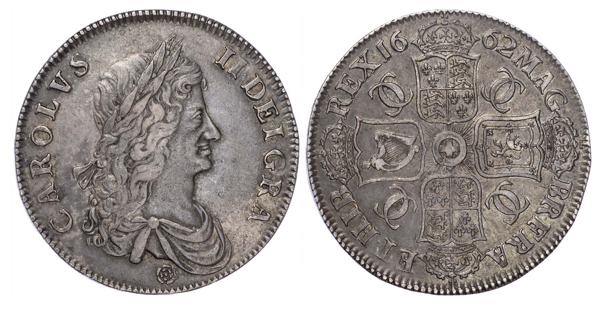 Charles II (1660-85), Crown, 1662, First Bust, Rose below