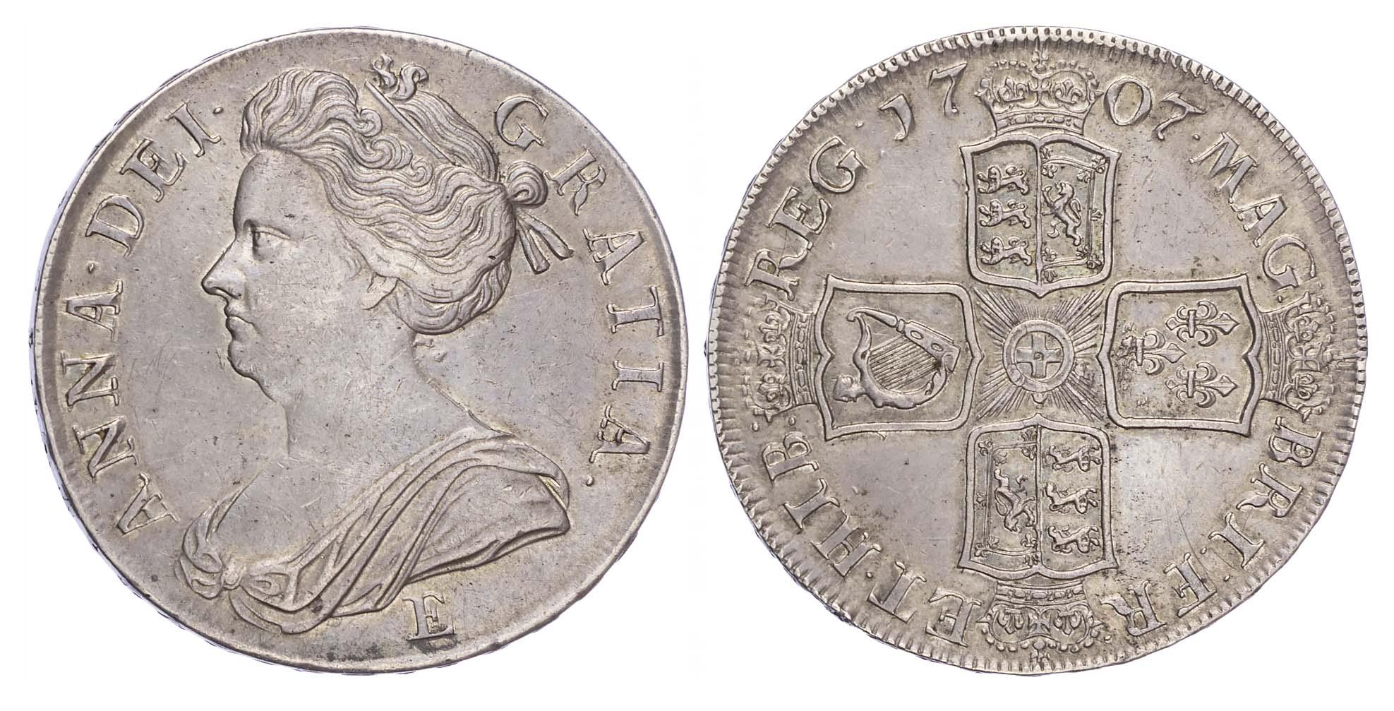 Anne (1702-14), Crown, 1707, E (Edinburgh) below, Sexto edge