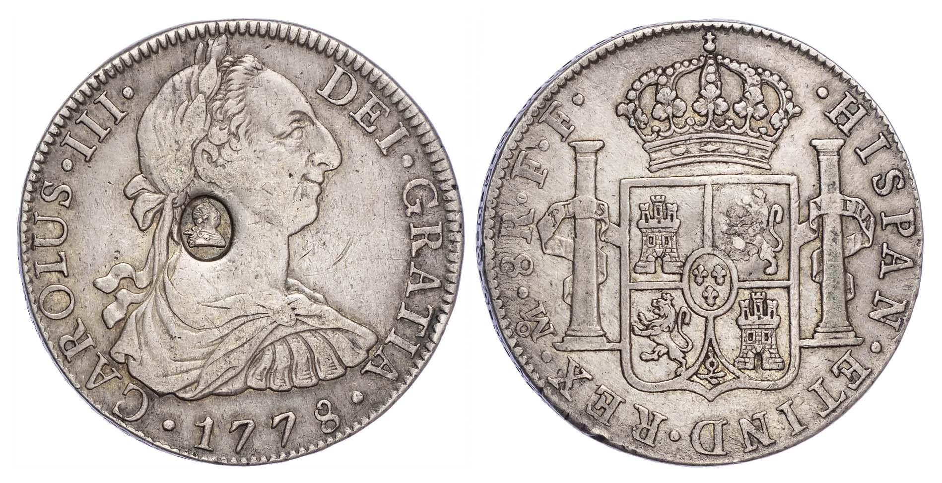 George III (1760-1820), Oval countermark struck on Spanish Eight Reales of King Charles III, 1778