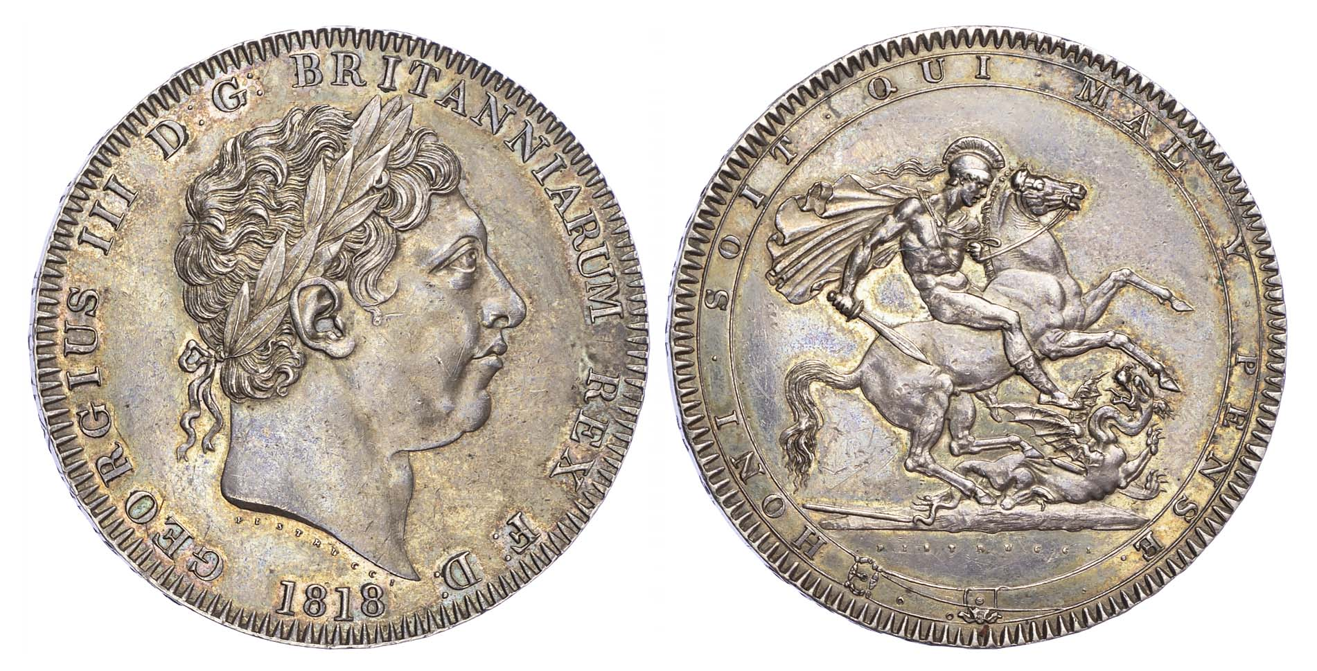 George III (1760-1820), Crown, 1818, LVIII edge