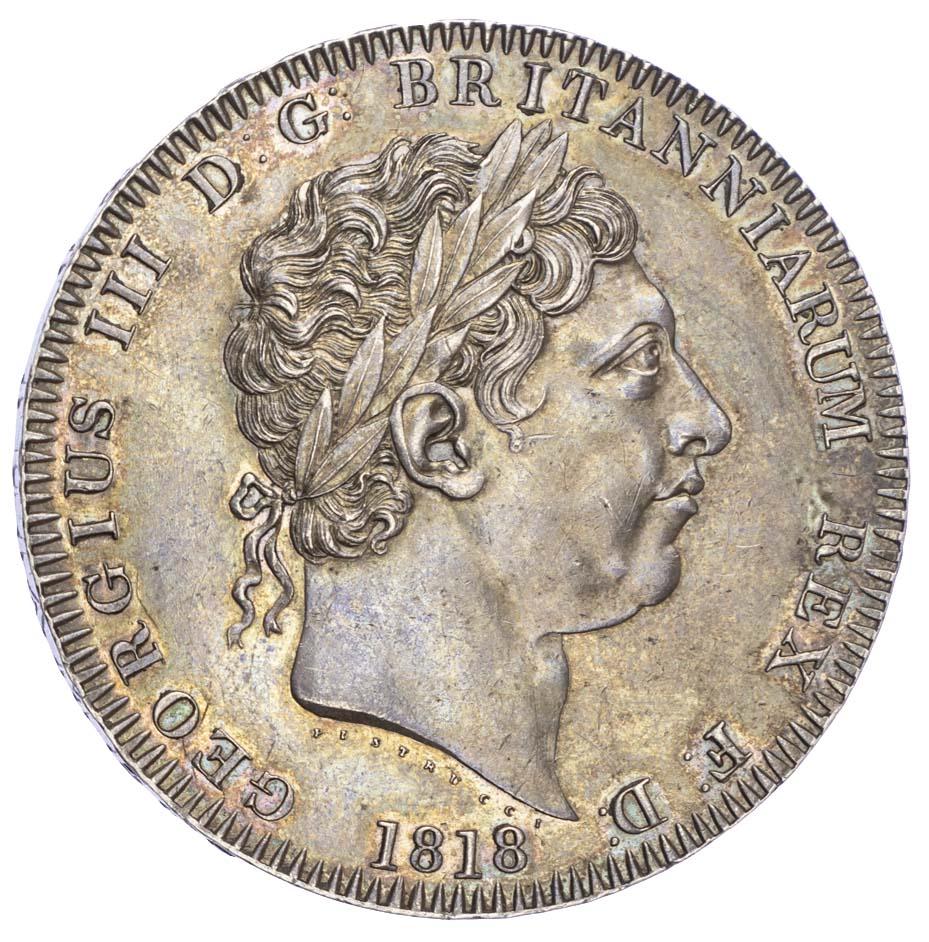 George III (1760-1820), Crown, 1818, LVIII edge