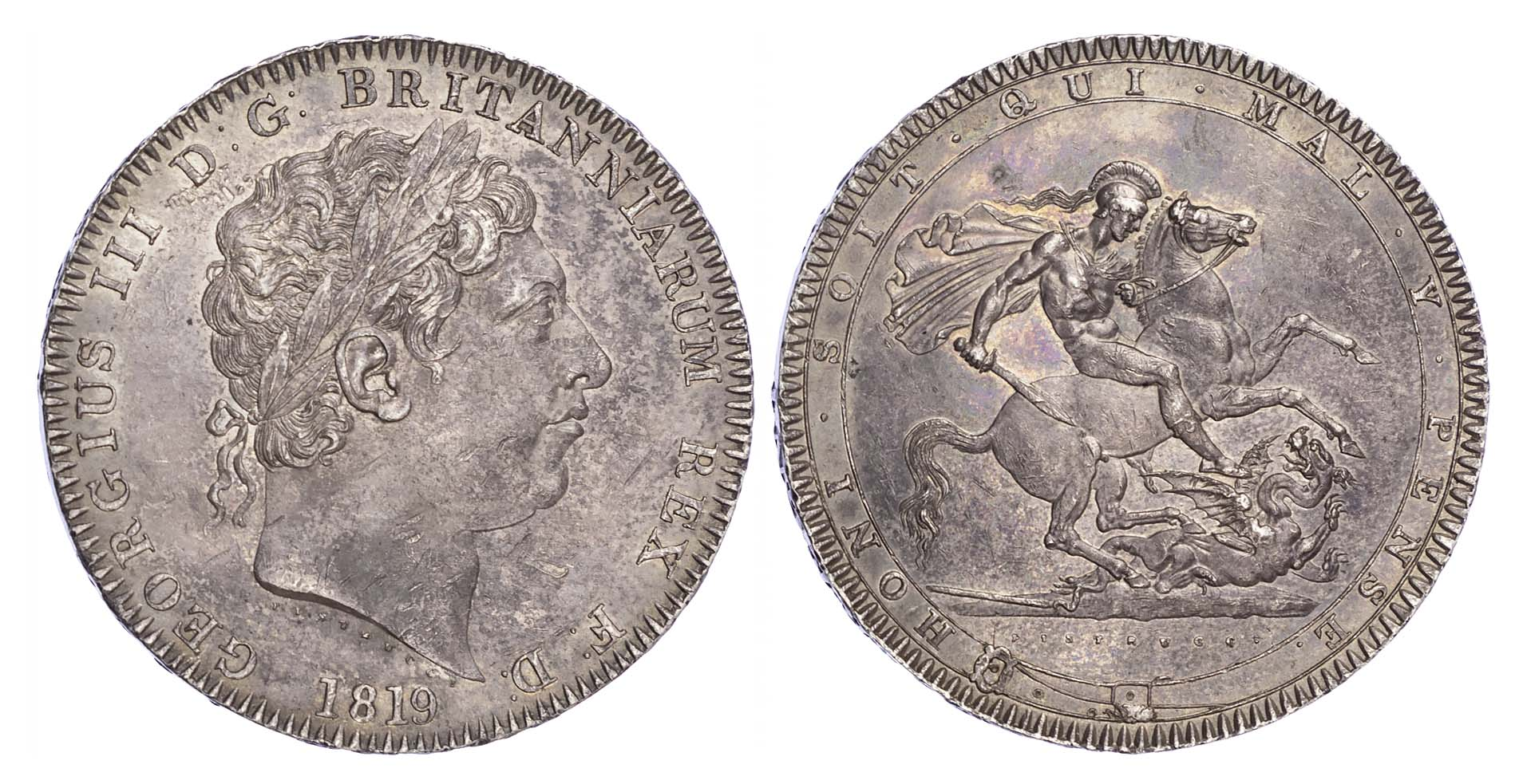George III (1760-1820), Crown, 1819 LX (no stop after TUTAMEN)
