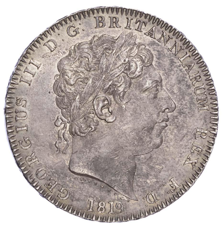George III (1760-1820), Crown, 1819 LX (no stop after TUTAMEN)