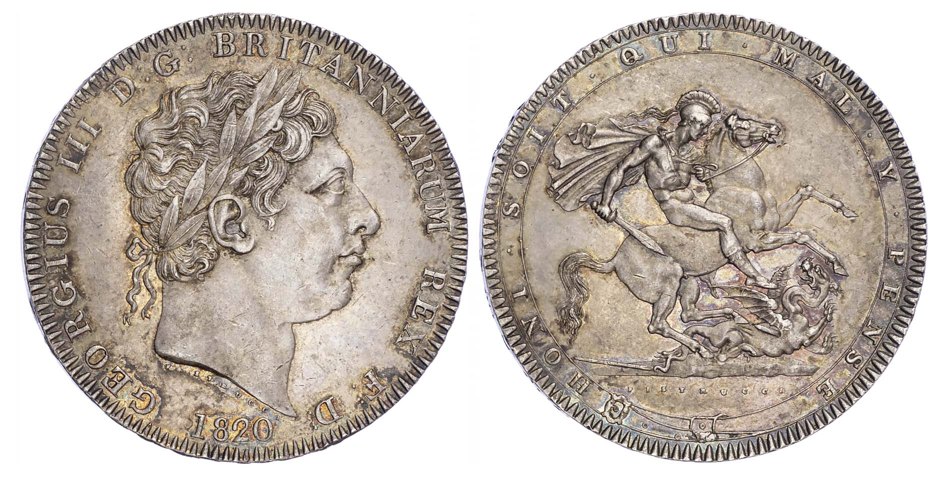 George III (1760-1820), Crown, 1820, LX edge