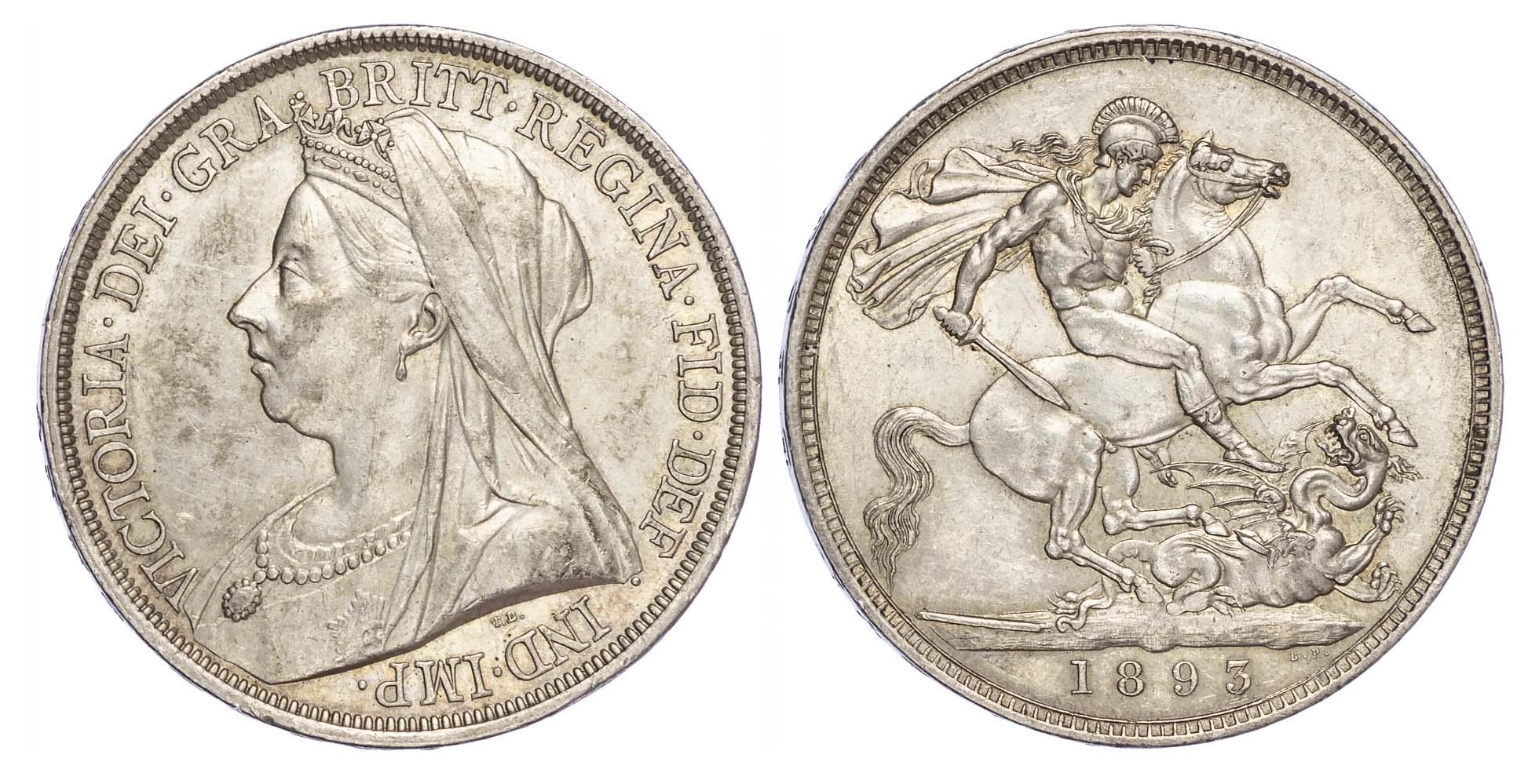 Victoria (1837-1901), Crown, 1893, LVI edge, Old veiled bust