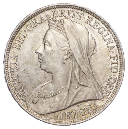 Victoria (1837-1901), 1895, Crown, LIX edge, old veiled bust