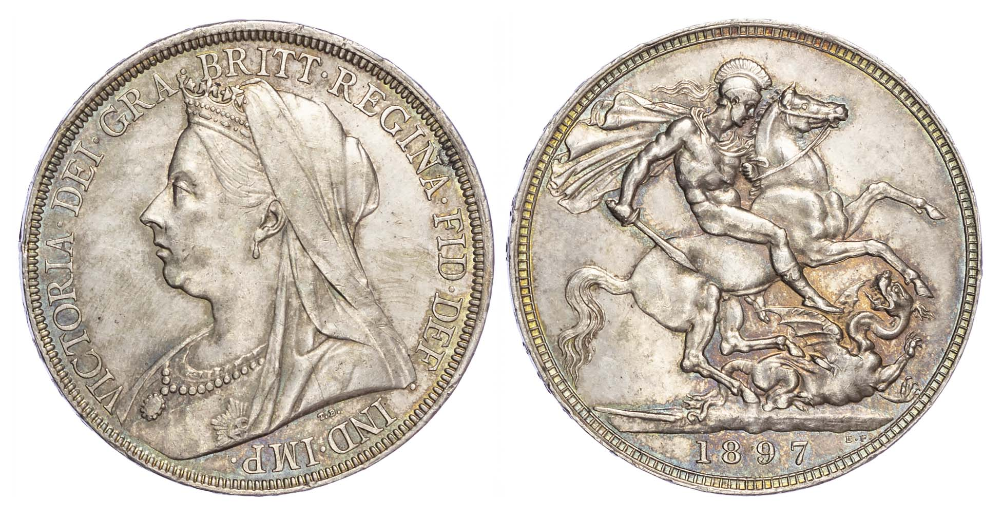 Victoria (1837-1901), 1897, Crown, LXI edge, old veiled bust