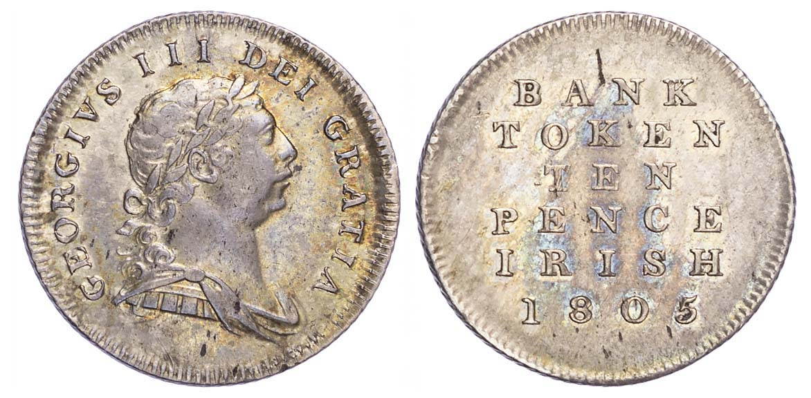 Ireland, George III (1760-1820), Bank of Ireland 10 Pence, 1805