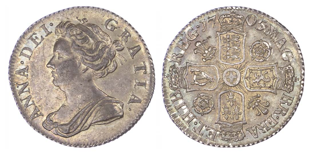 Anne (1702-14), Sixpence, 1705, Roses and Plumes issue