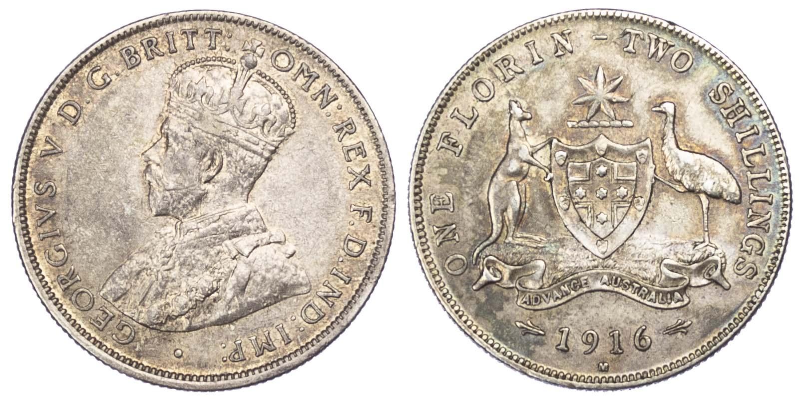 Australia, George V, Florin, 1916 M