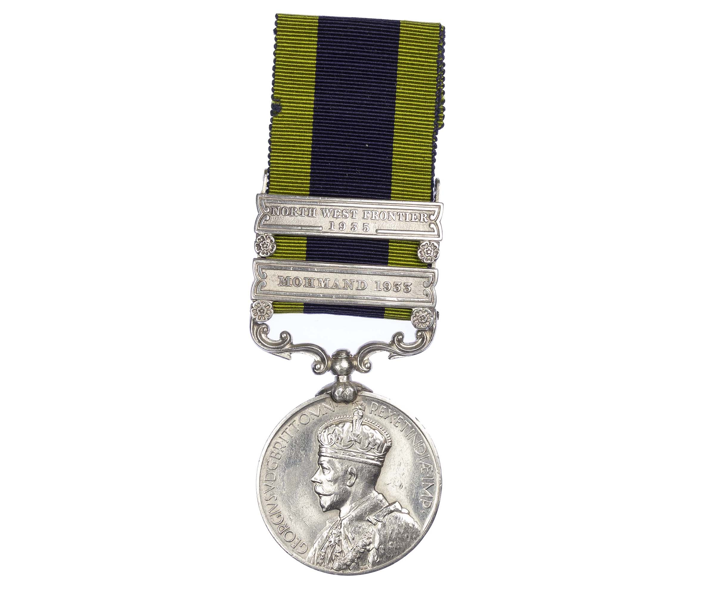 India General service Medal, two clasps, Mohmand 1933, North West Frontier 1935, to Sweeper Sanawaria