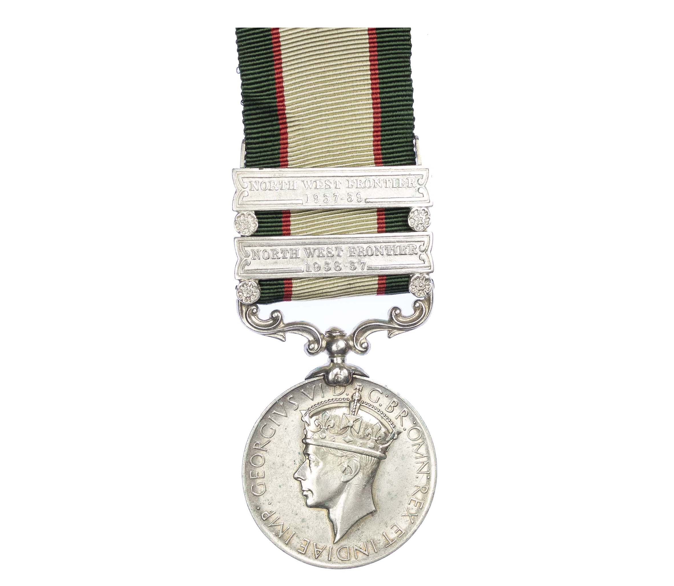 India General Service Medal 1936-1939, two clasps, to Havildar Akhma