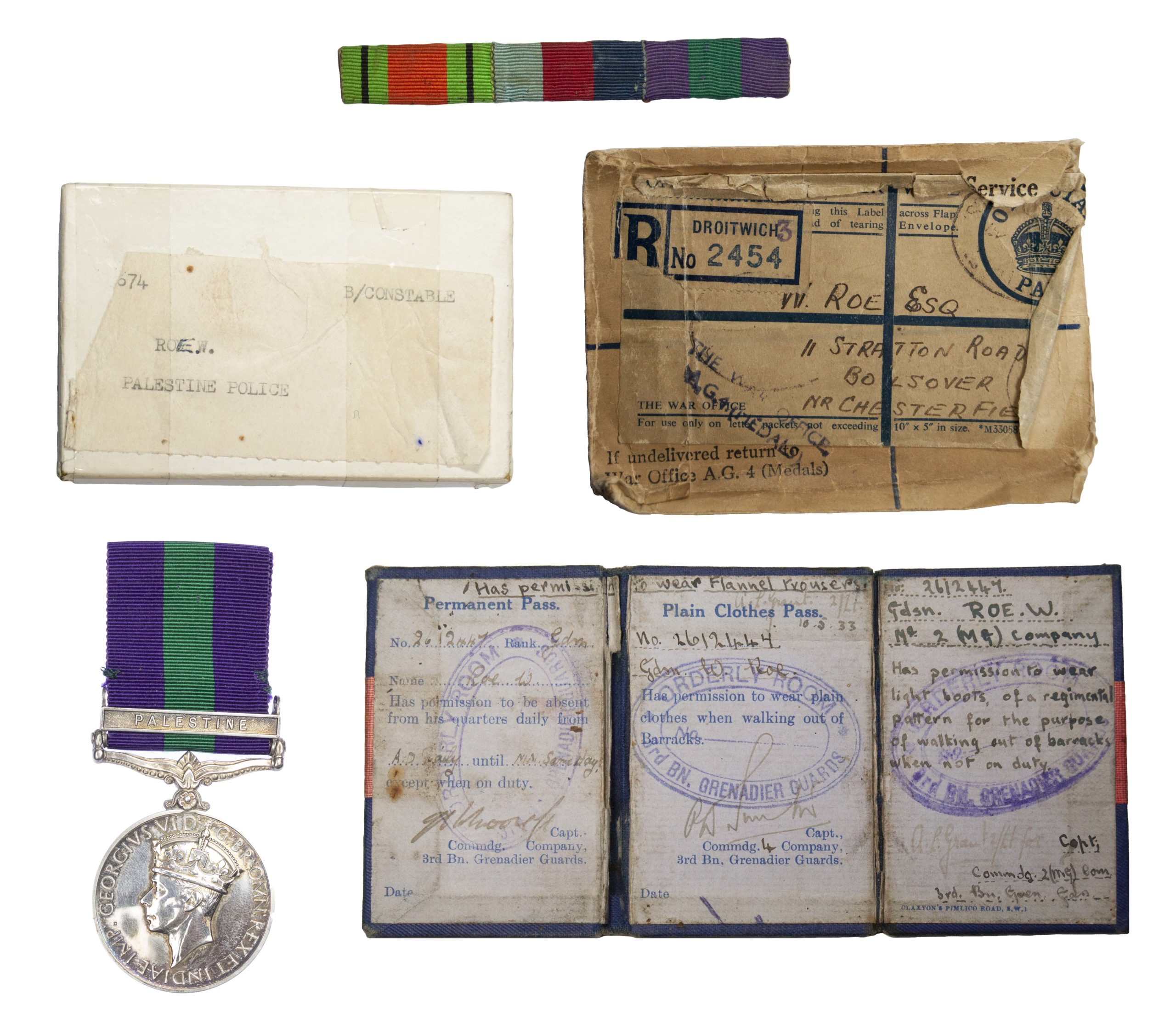 General Service Medal 1918-62, GVIR, one clasp Palestine, to B. Constable W. Rowe