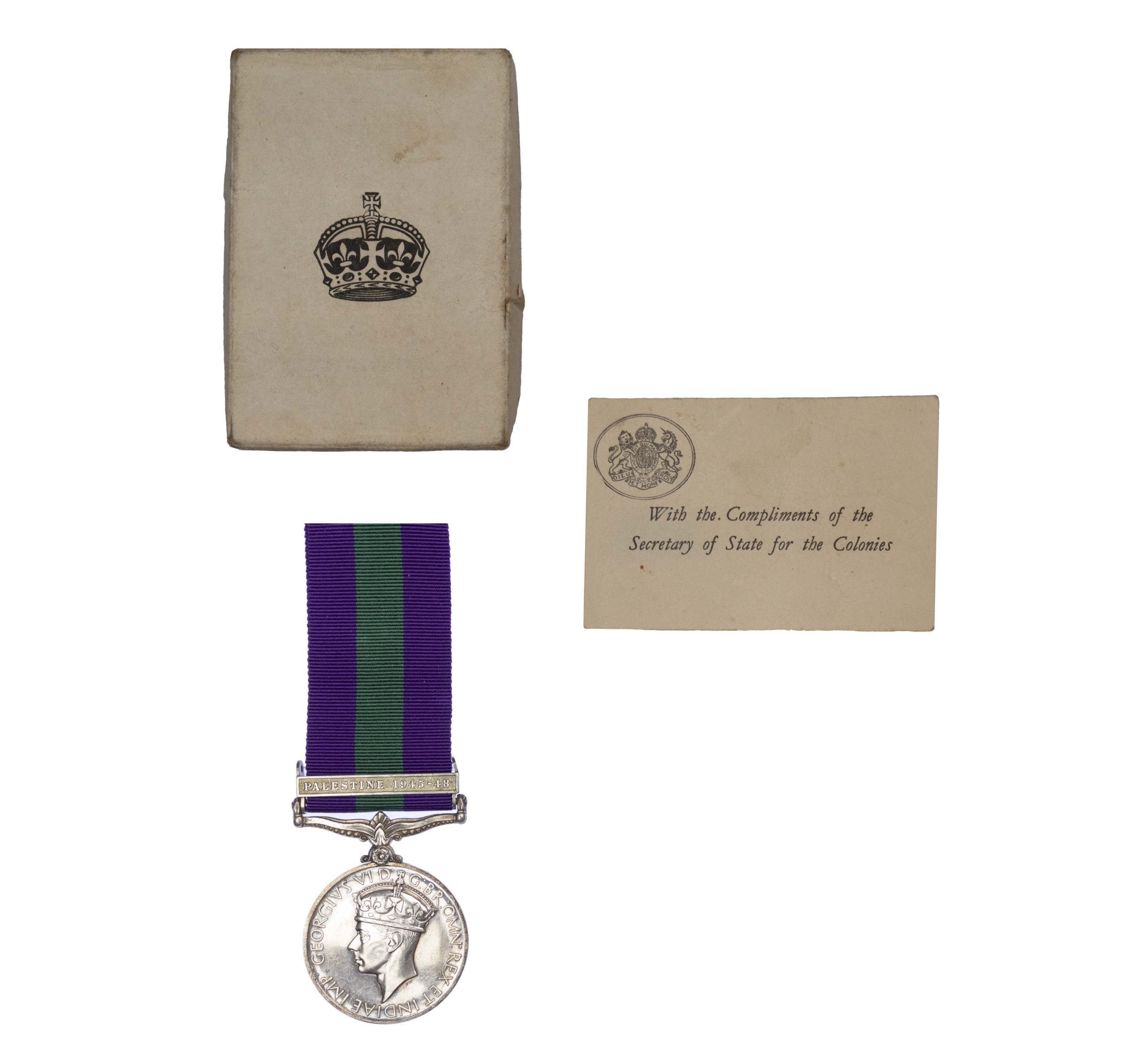 General Service Medal 1918-62, GVIR, one clasp Palestine1945-48 to B. Constable G. A. Head