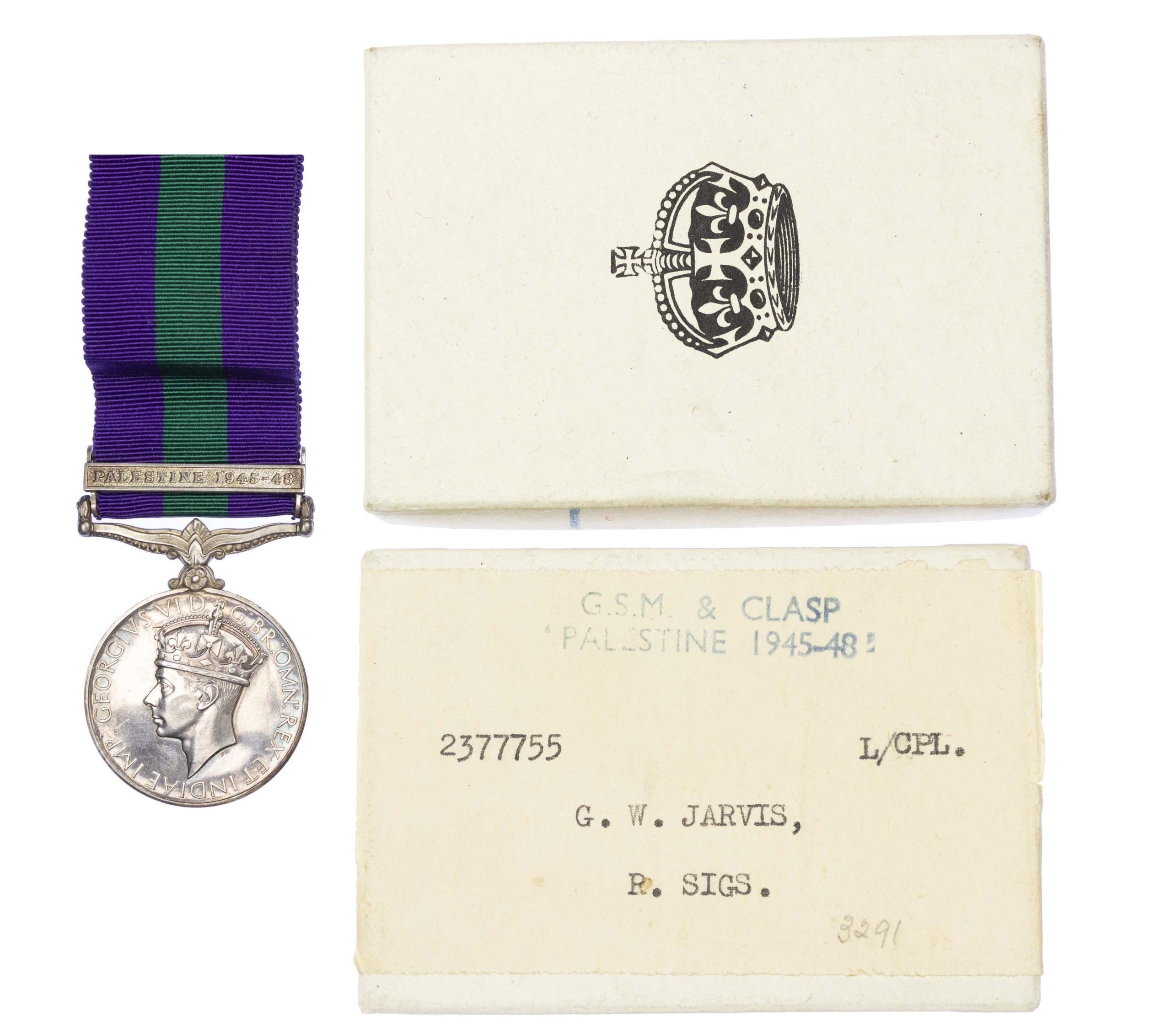 General Service Medal 1918-62, GVIR, one clasp Palestine1945-48 to Lance Corporal G.W. Jarvis