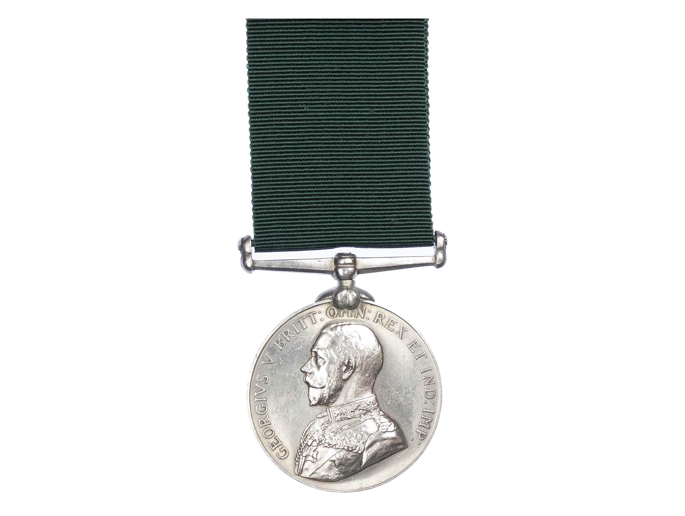 Volunteer Force Long Service Medal, GVR, to Private J. Weyman-Jones