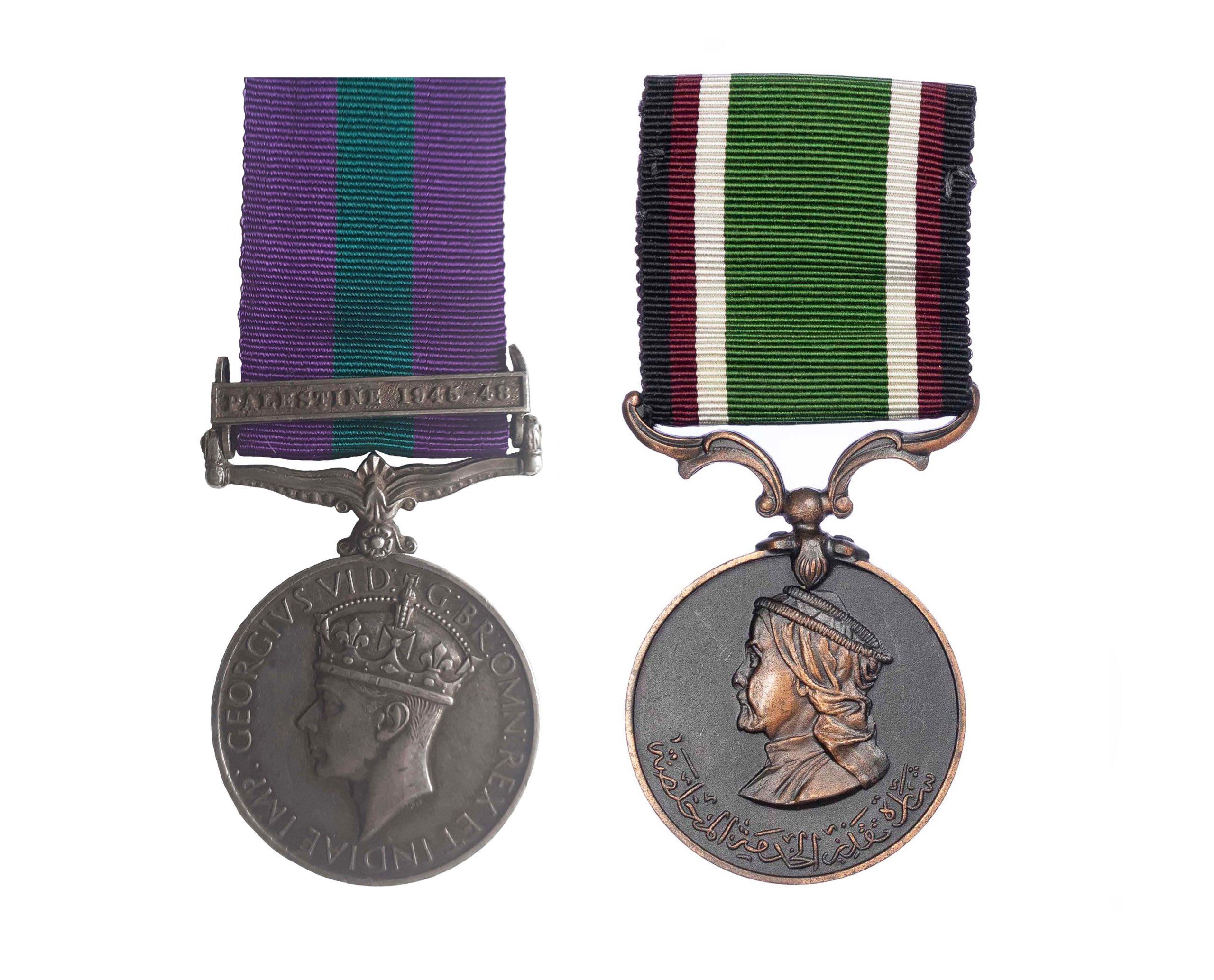 General Service Medal 1918-62, GVIR, one clasp Palestine 1945-48 Trans Jordan Long and Faithful Service Medal pair to Private Mustafa Muhd Mahmoud