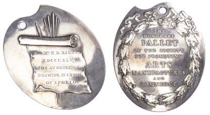 Art prize medal, Royal Society of Arts Silver Honorary Pallet 1845