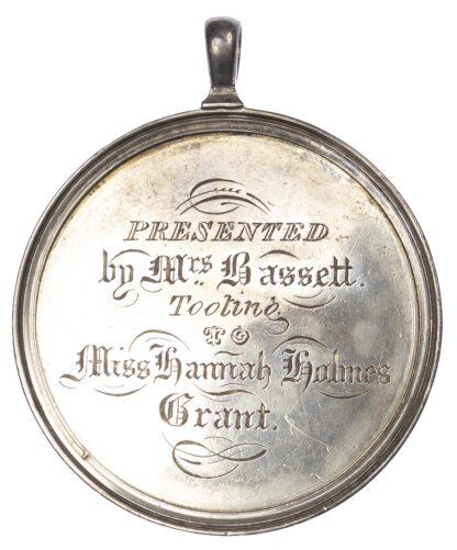 School prize medal, Mrs. Basset's School, Tooting Silver reward 1824