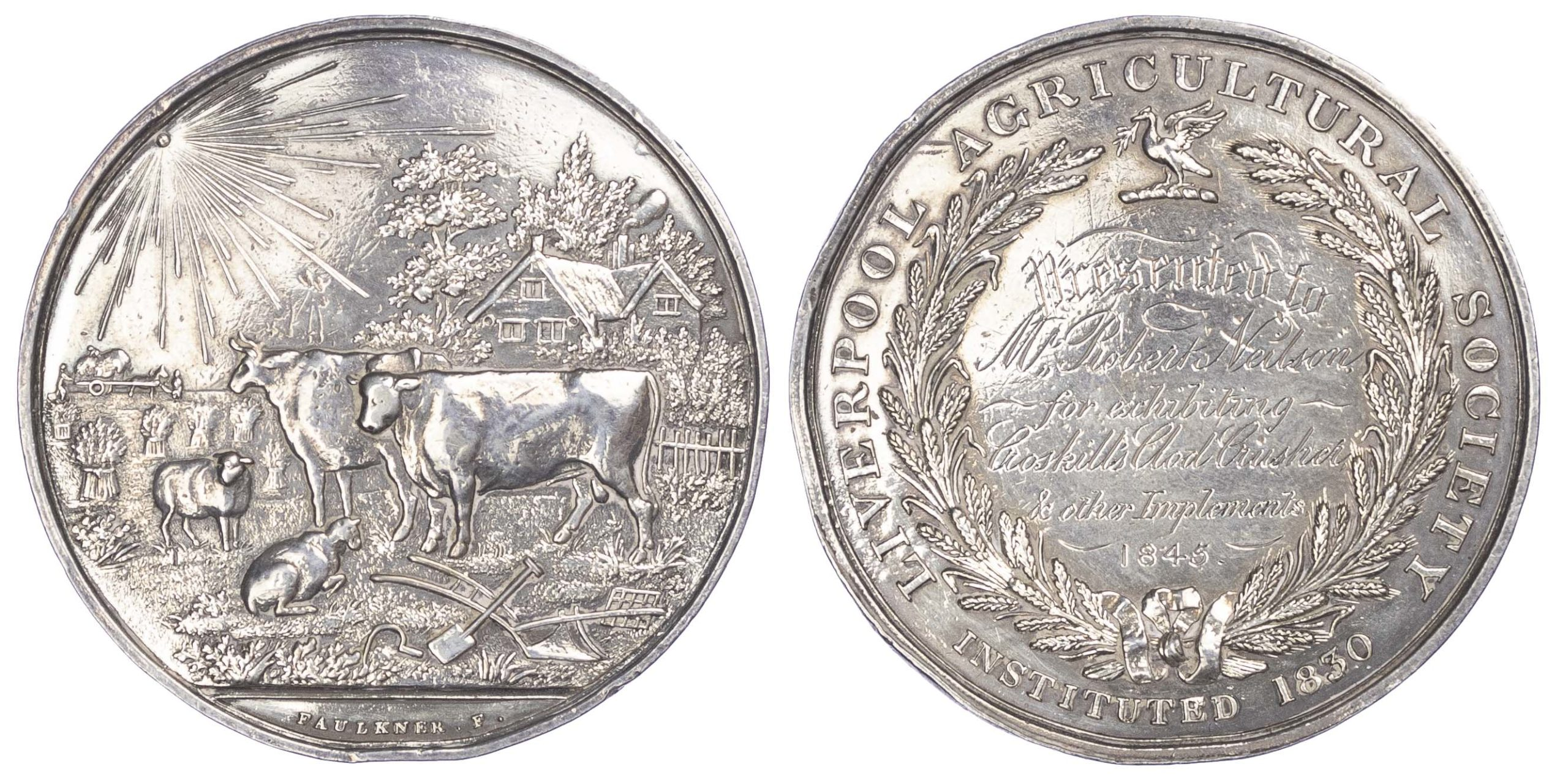 Agricultural prize medal, Liverpool Agricultural Society silver medal 1845