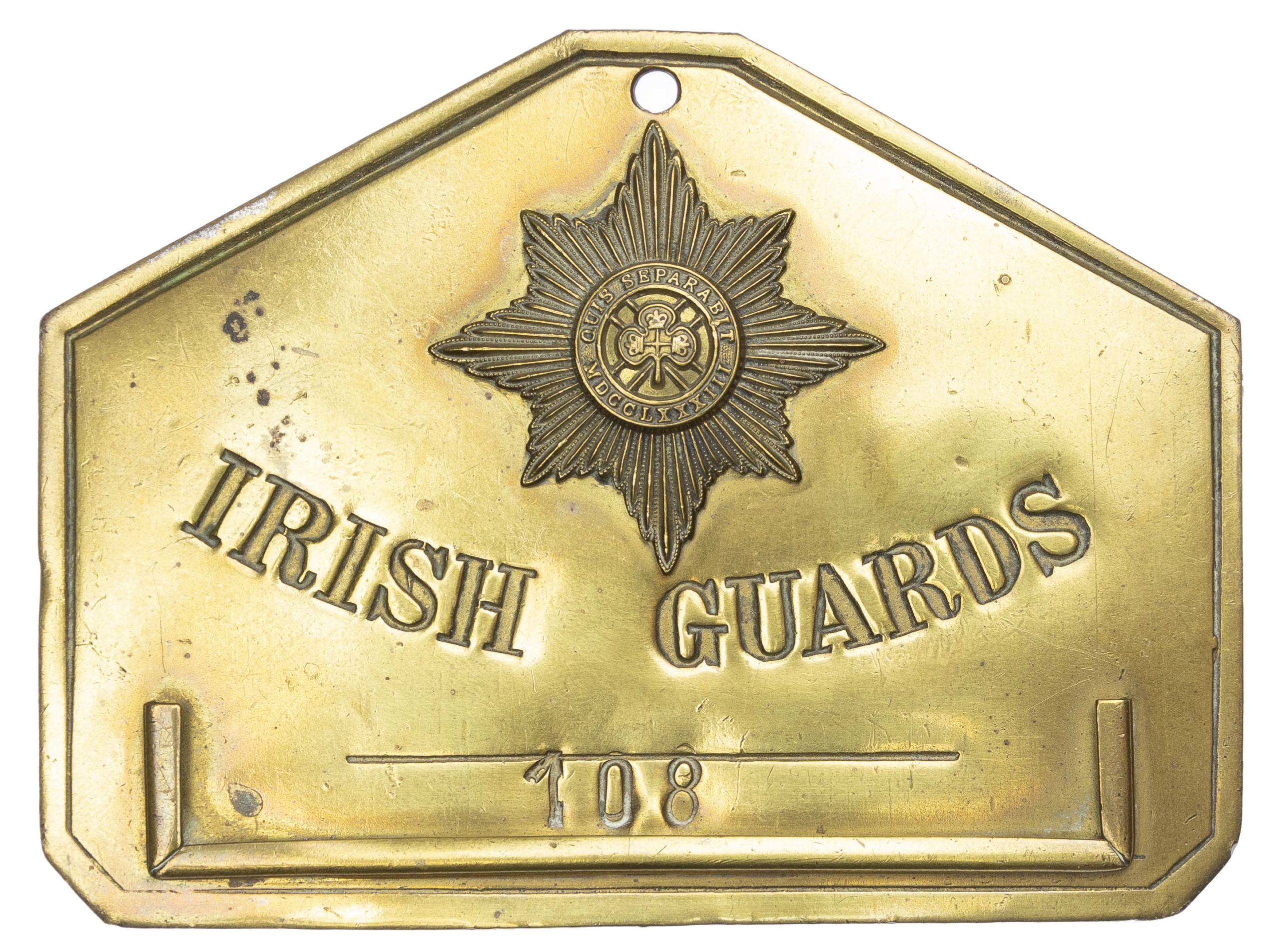 "A Pre-Great War ""Bed Plate"" to 108 Irish Guards, belonging to Warrant Officer Class II, Sergeant Major John Kirk"