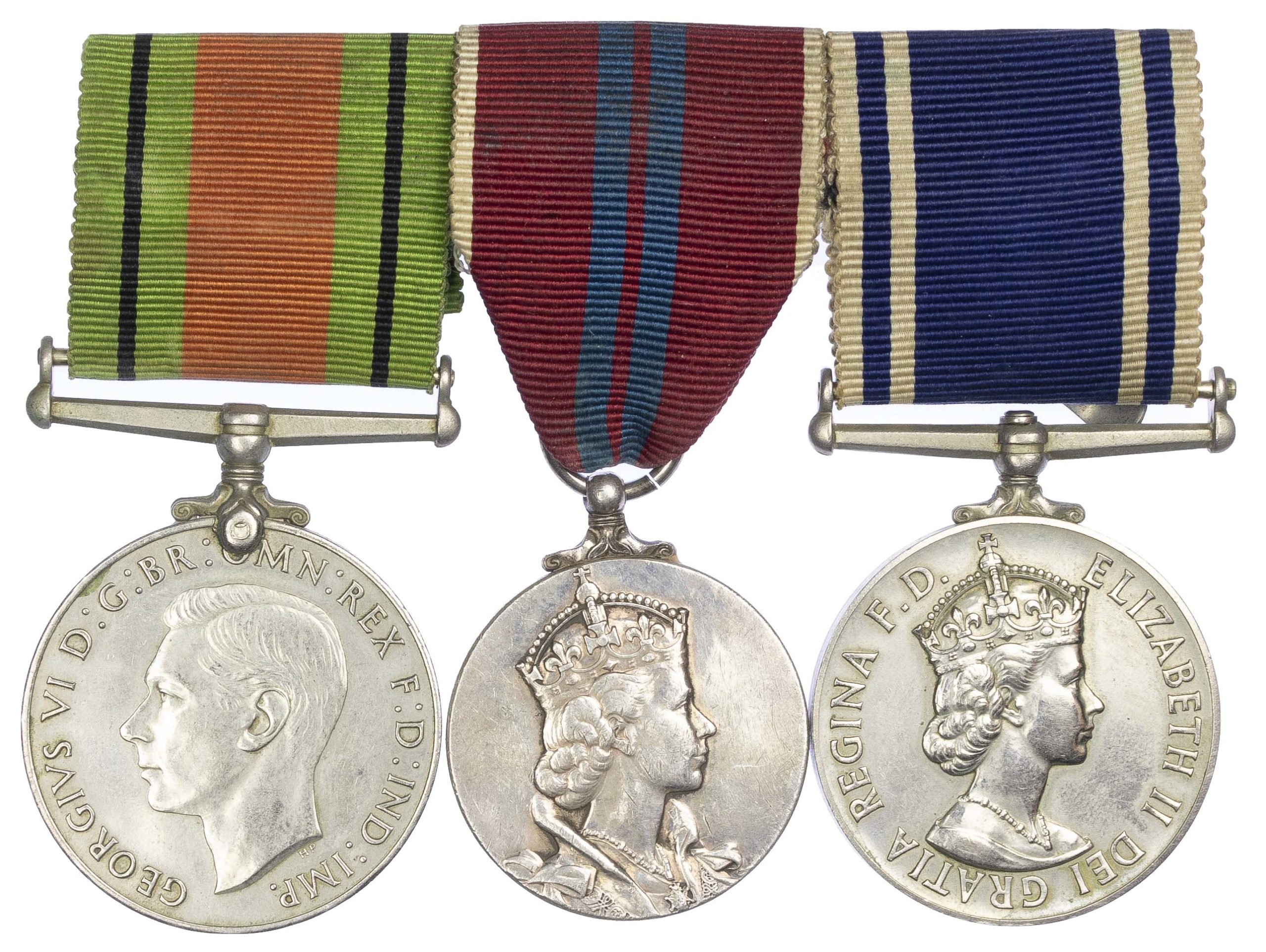 World War Two, Elizabeth the Second Coronation Medal, Police Long Service Group of three to Sergeant James Moore