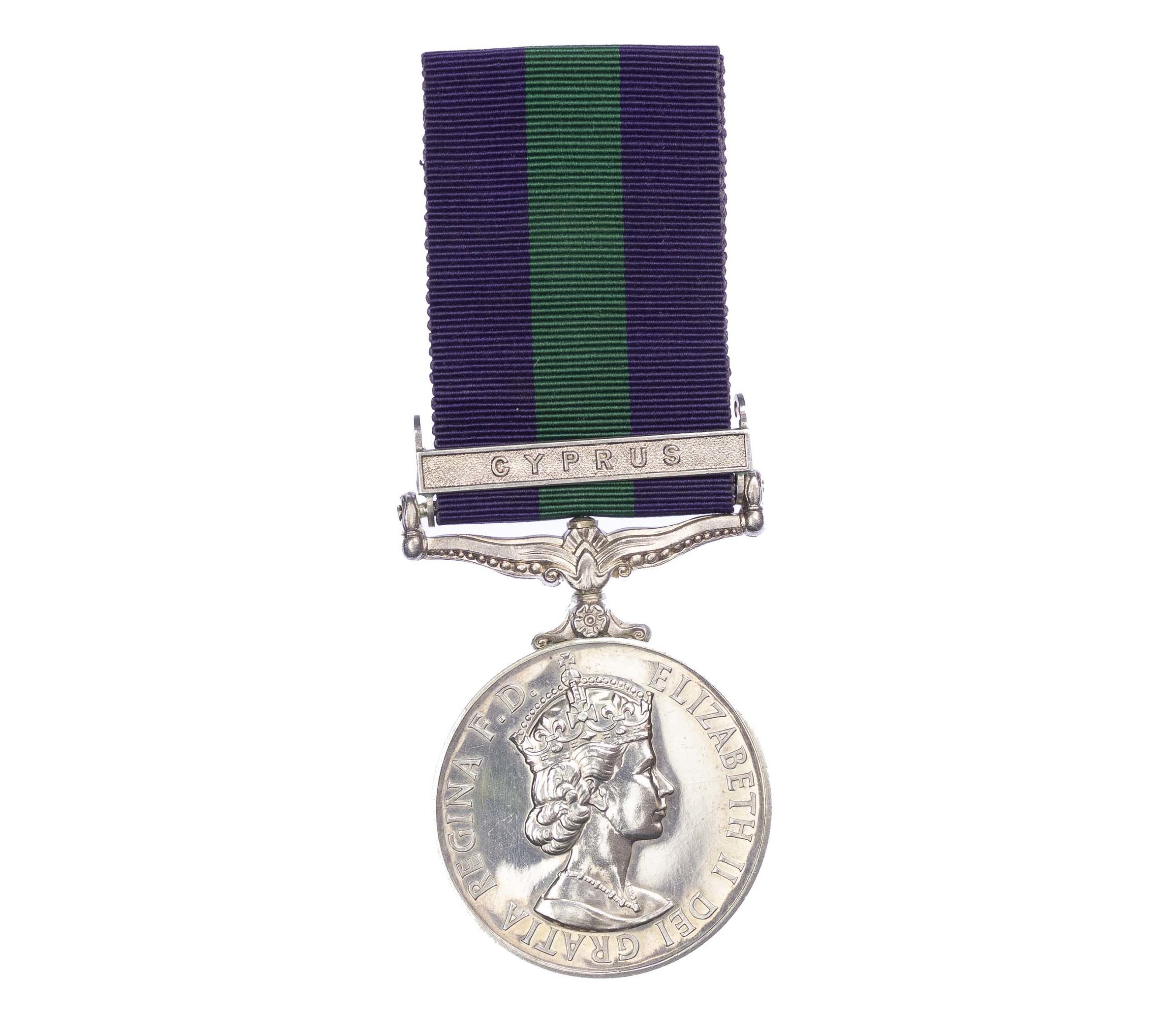 General Service Medal 1918-62, EiiR, one clasp, Cyprus, to Trooper A.W. Irving