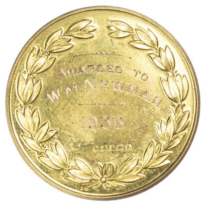 Agricultural prize medal, Worsley and district Agricultural and Horticultural Society gold cased medal 1936