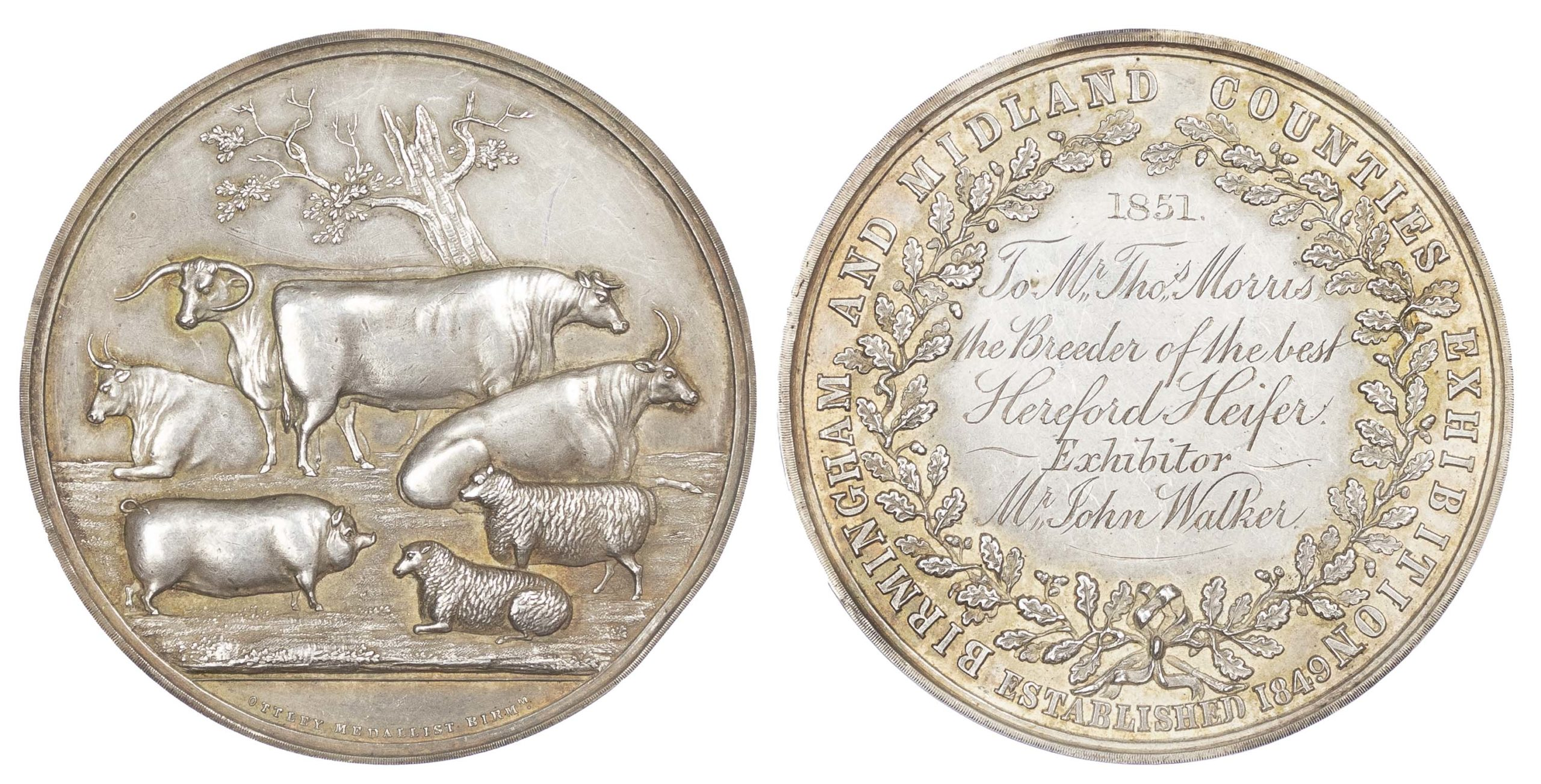 Agricultural prize medal, Birmingham and Midland Counties Exhibition Silver medal 1851