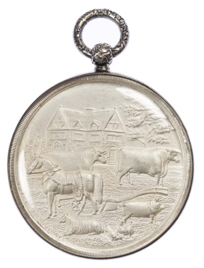 Agricultural prize medal, Staffordshire Agricultural Society silver cased medal 1923