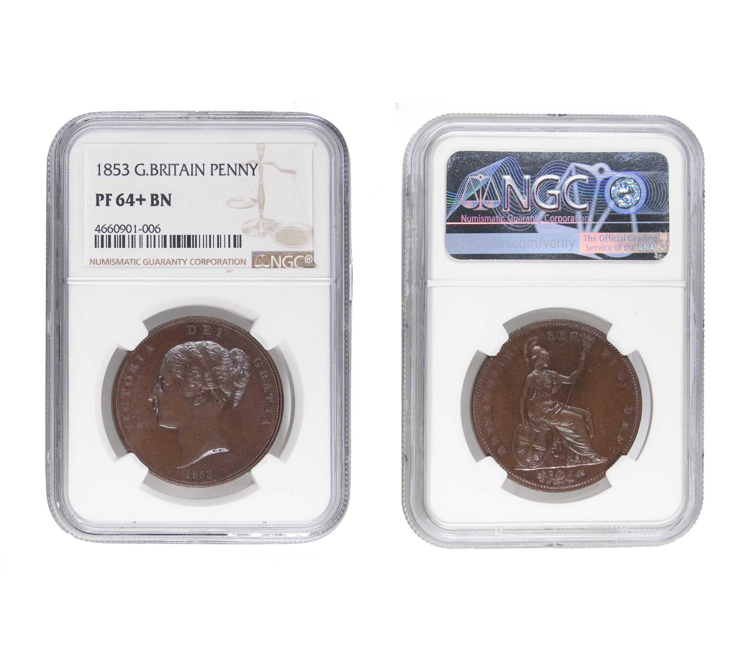 1853 Proof Victoria Copper Penny PF64+