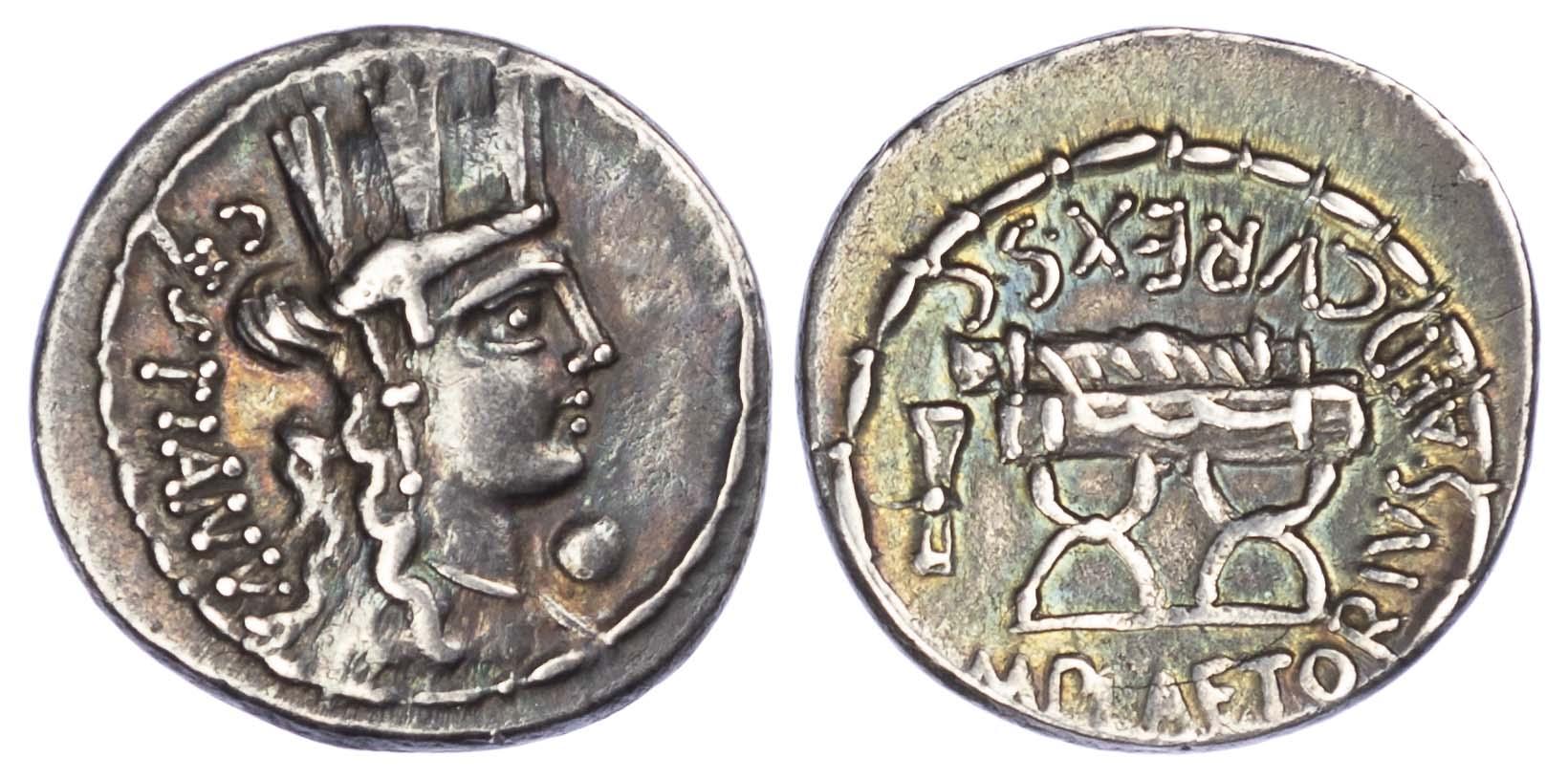 M. Plaetorius M.f. Cestianus, Silver Denarius