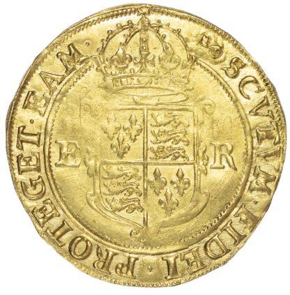 Elizabeth I (1558-1603), Sixth issue, Pound, initial mark key over woolpack (c.1594-98)