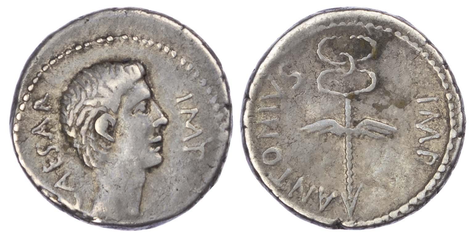 Octavian and Mark Antony, Silver Denarius