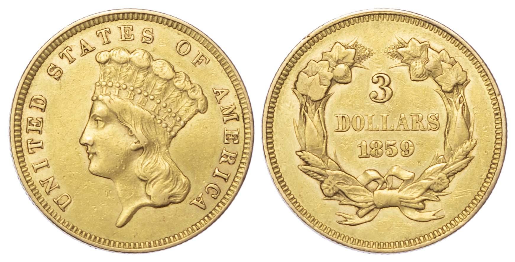 USA, 3 gold Dollars, 1859, Philadelphia