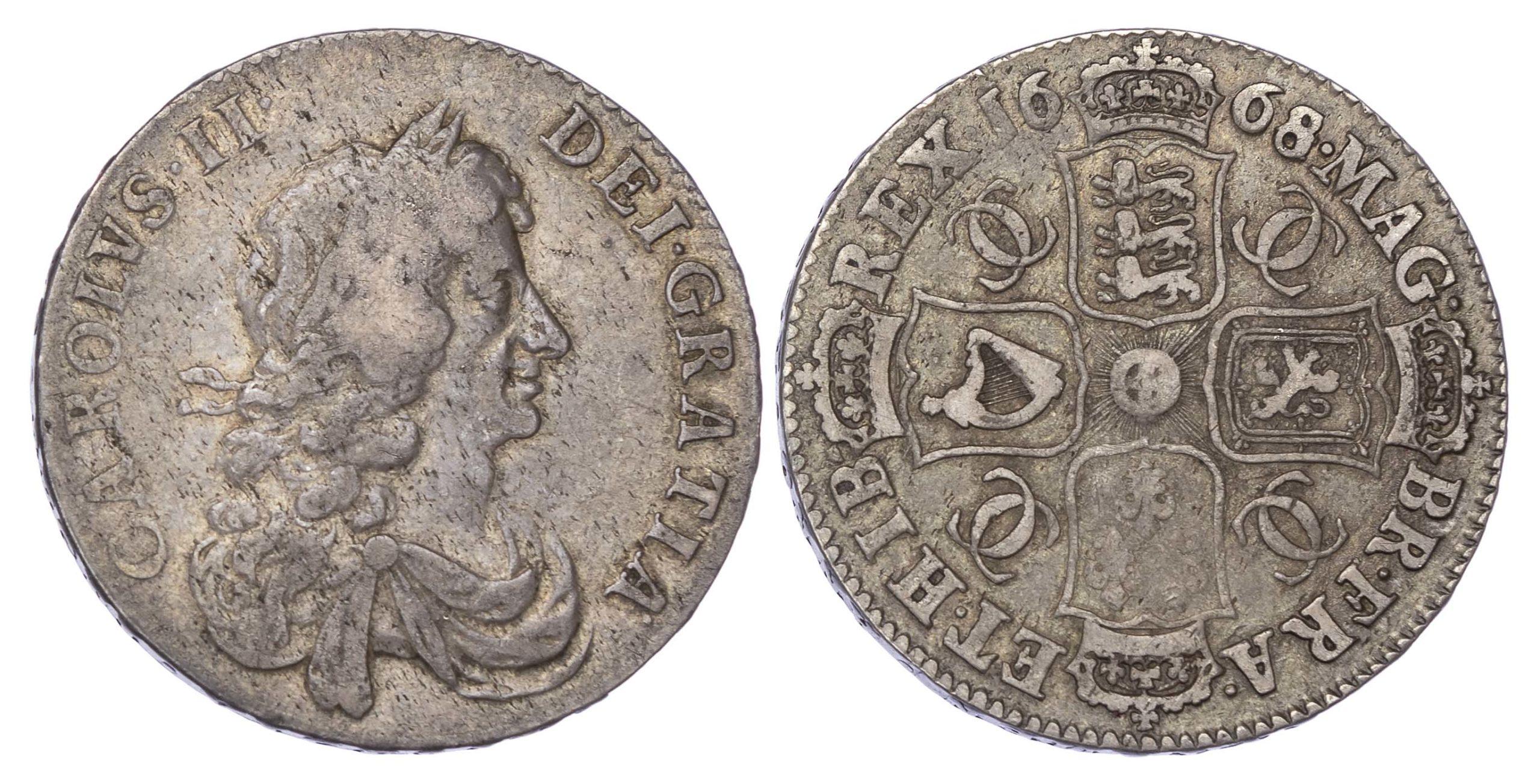 Charles II (1660-85), 1668/4 Halfcrown, third bust