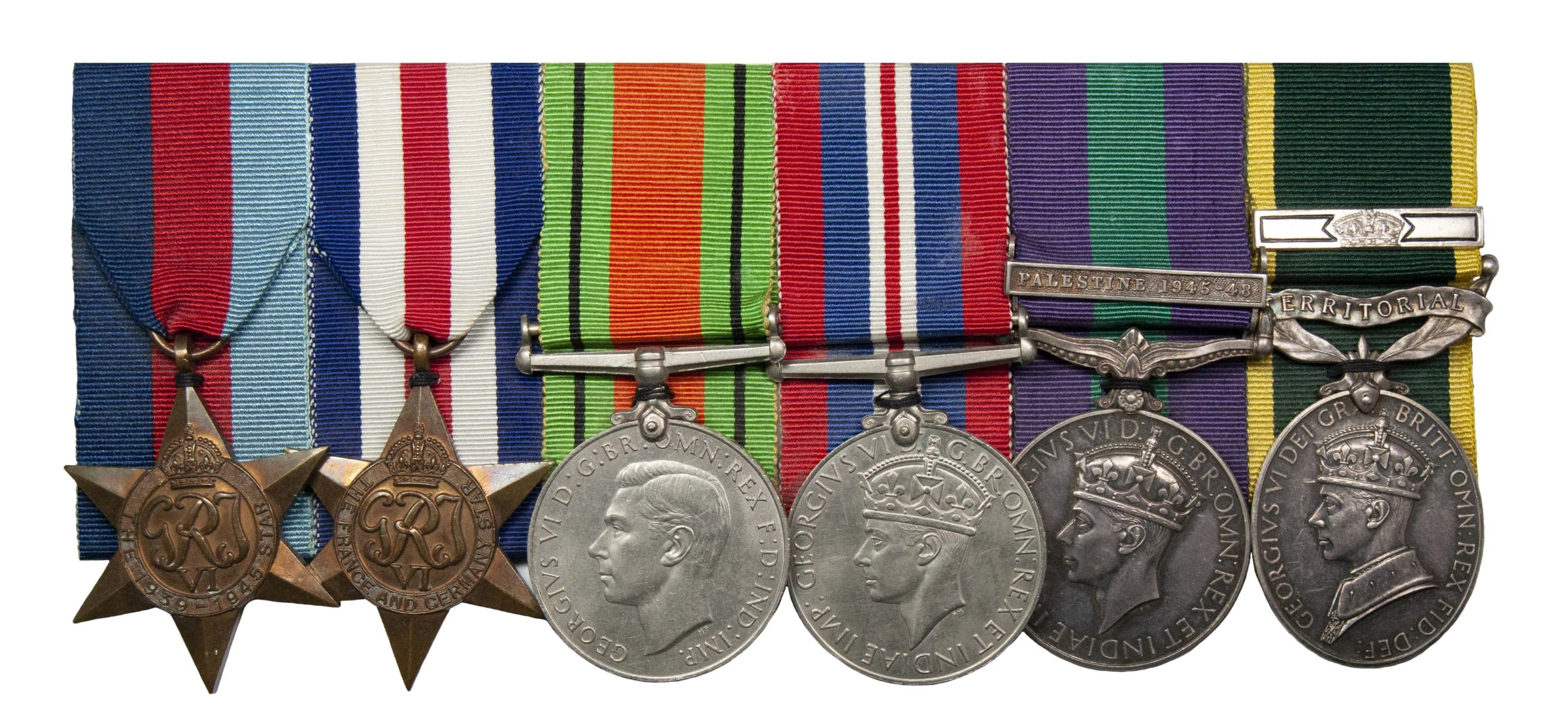 An Officers North West Europe, Palestine Territorial Long Service Group of 6 to Captain Jack Owen Wilson