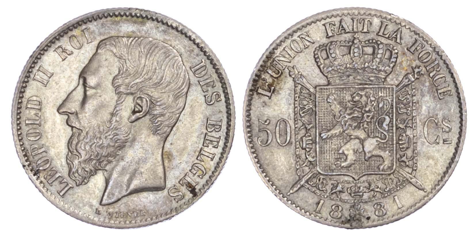 Belgium, Leopold II (1865-1910), silver 50 Centimes, 1881