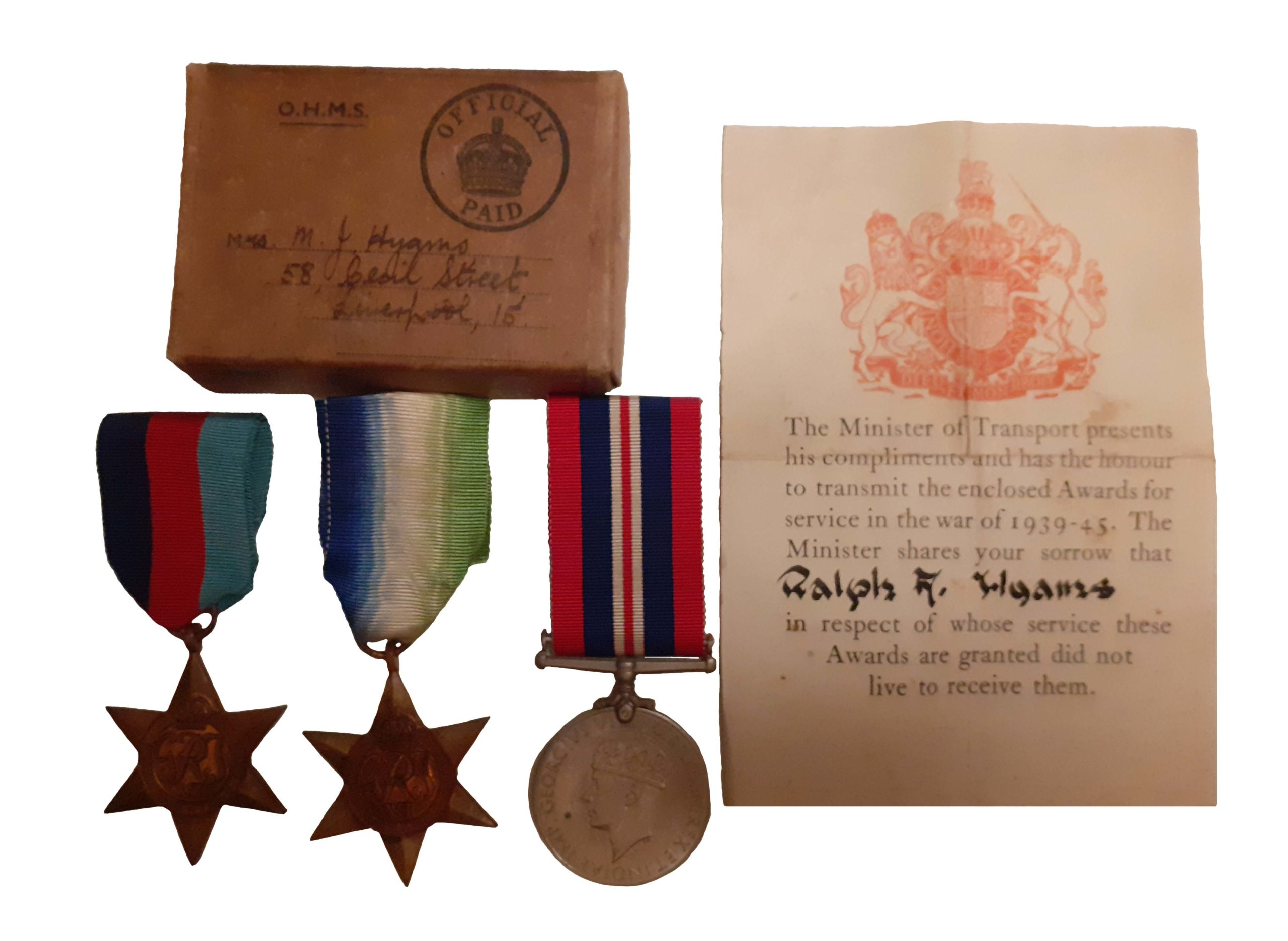 A Battle of The Atlantic casualty group of three to Donkeyman Ralph F. Hyams