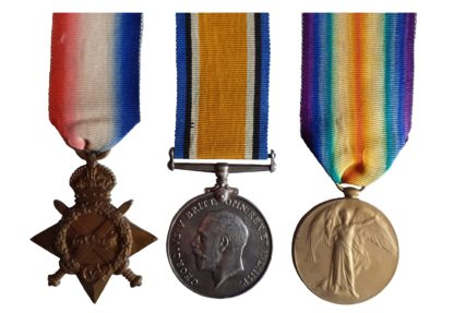 1914-15 Trio awarded to Private Harry W.B. Cox, Royal Army Medical Corps