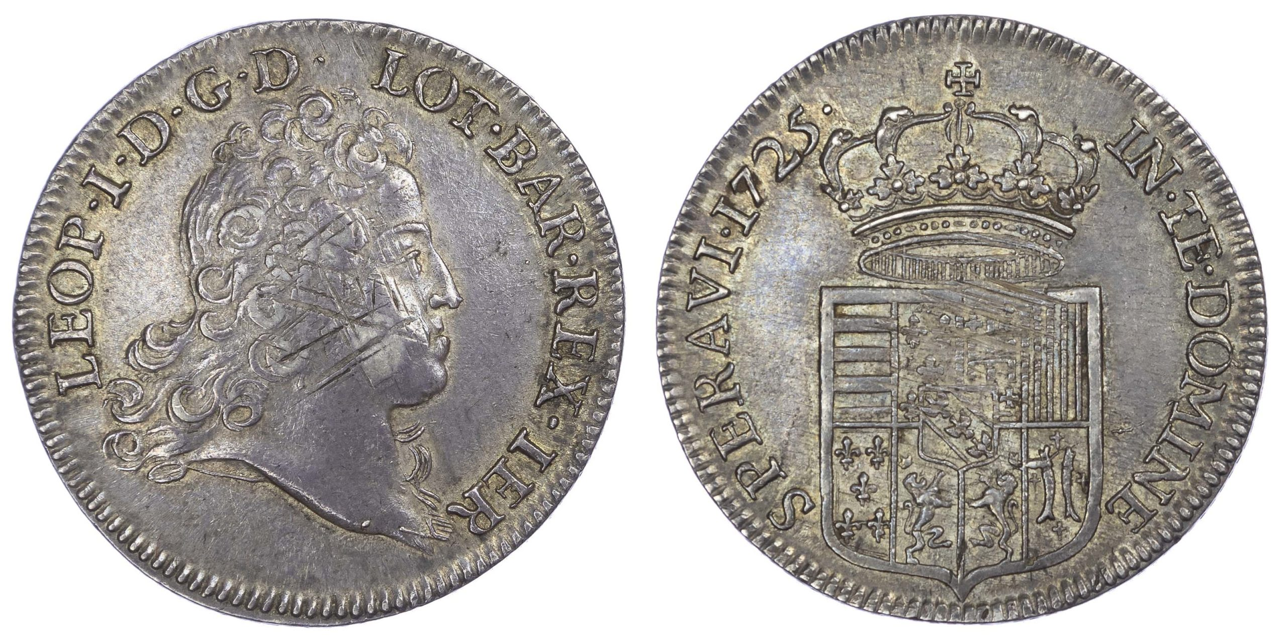 France, Lorraine, Leopold I (1697-1729 AD), Léopold d''argent (écu, dit Aubonne), 1725 - rare