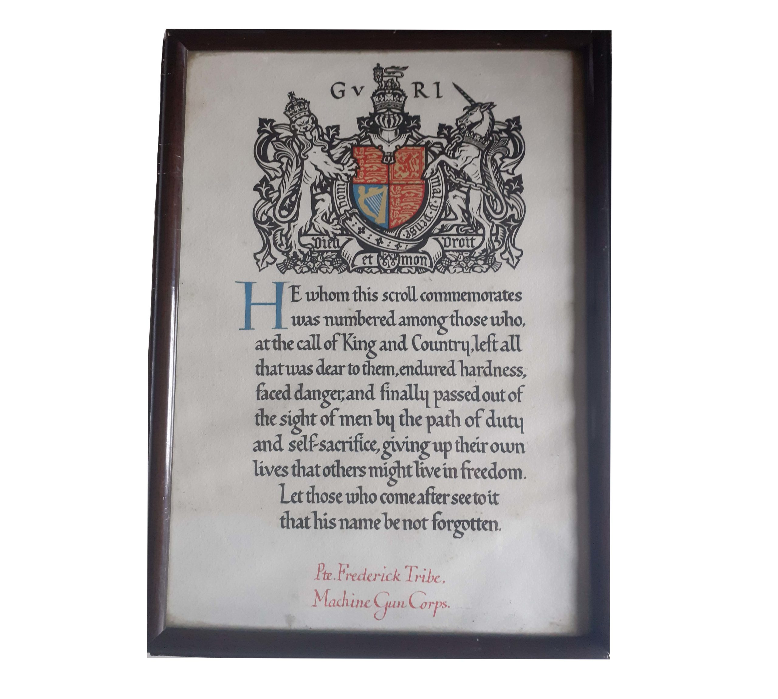 A Great War Battle of Arras, Memorial Scroll to Private Frederick Tribe