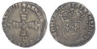 France, Henri III (1574-1589 AD), silver 1/8 Ecu, 1589, Paris