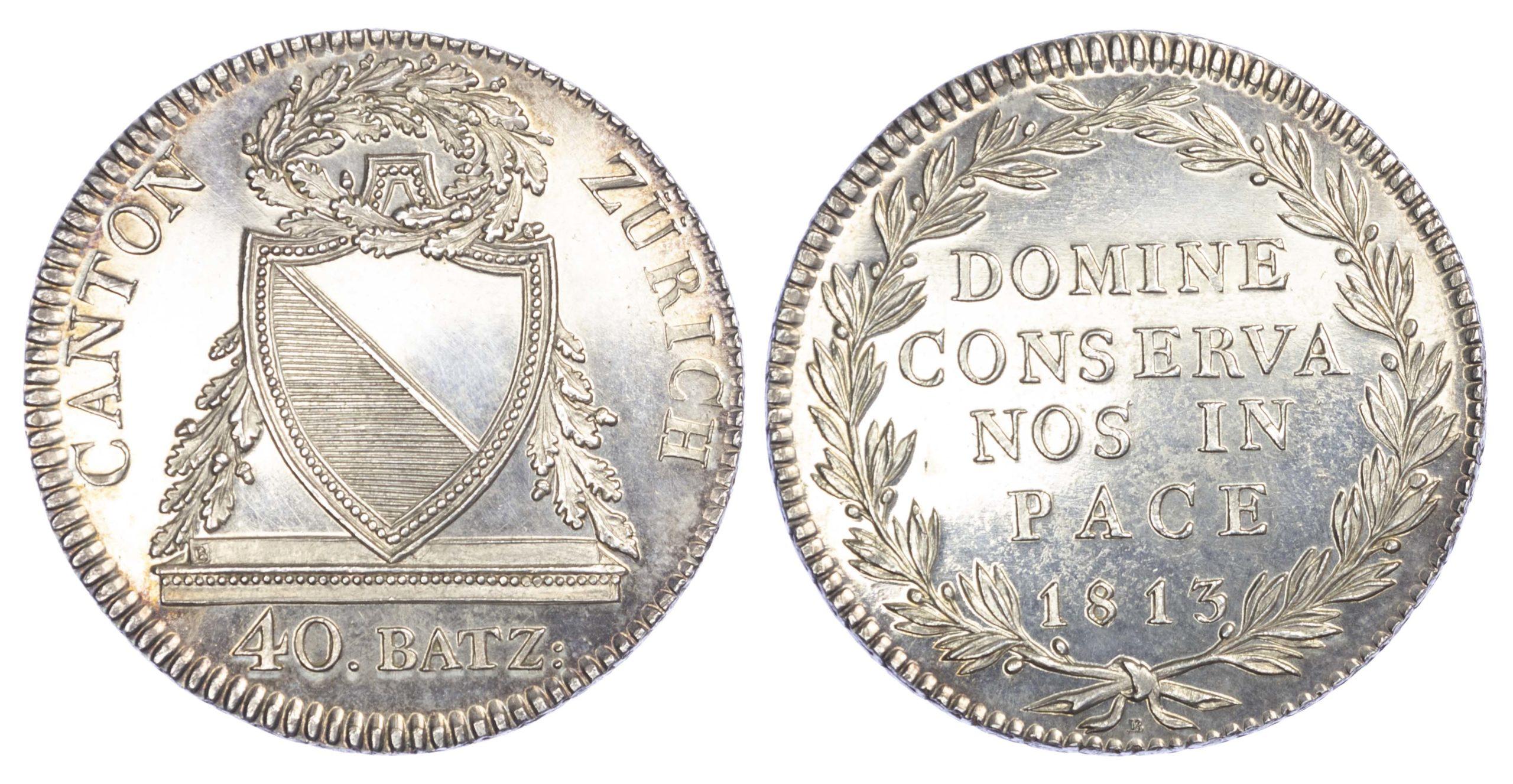 Switzerland, Canton of Zürich, silver 40 Batzen, 1813-B